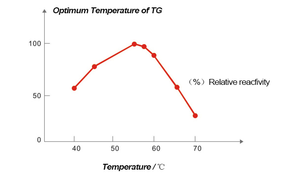 The optimum temperature of TG is about 55℃